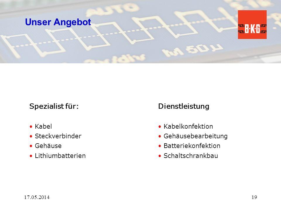 Unser Angebot Dienstleistung Kabelkonfektion Gehäusebearbeitung Batteriekonfektion Schaltschrankbau 17.05.201419 Spezialist für: Kabel Steckverbinder