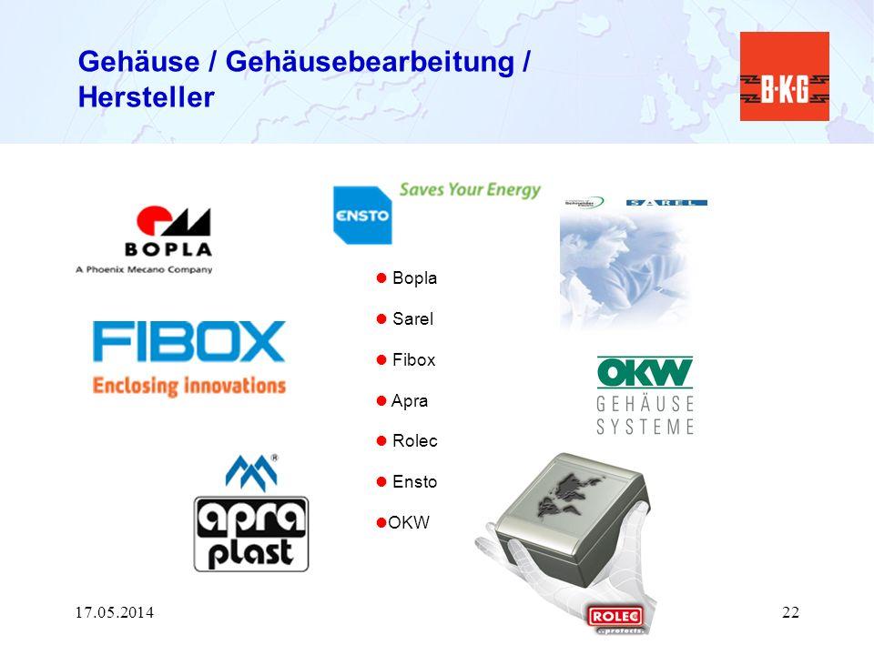 Gehäuse / Gehäusebearbeitung / Hersteller Bopla Sarel Fibox Apra Rolec Ensto OKW 17.05.201422