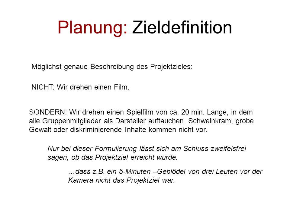 Planung: Zieldefinition Möglichst genaue Beschreibung des Projektzieles: SONDERN: Wir drehen einen Spielfilm von ca. 20 min. Länge, in dem alle Gruppe