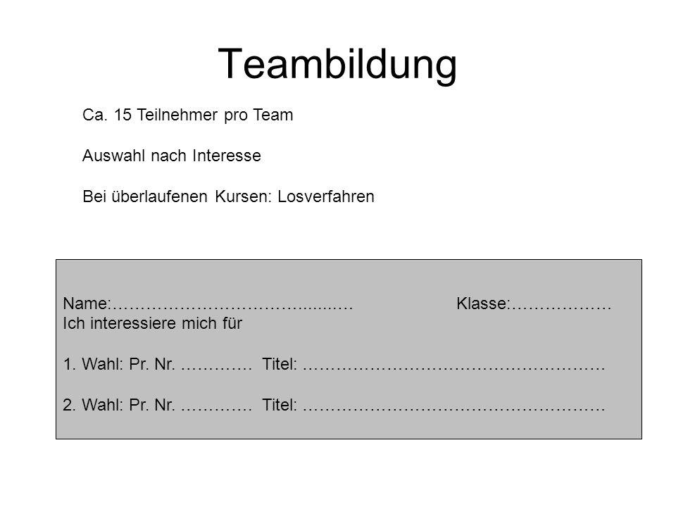Teambildung Ca. 15 Teilnehmer pro Team Auswahl nach Interesse Bei überlaufenen Kursen: Losverfahren Name:……………………………........… Klasse:……………… Ich intere