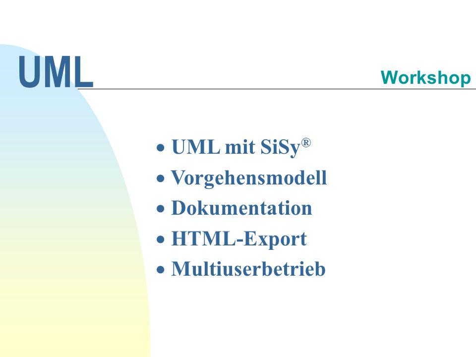 UML mit SiSy ® Vorgehensmodell Dokumentation HTML-Export Multiuserbetrieb UML Workshop