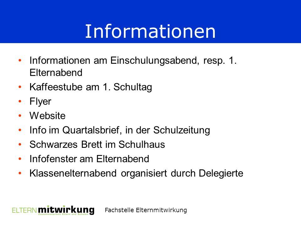 Fachstelle Elternmitwirkung Informationen Informationen am Einschulungsabend, resp.