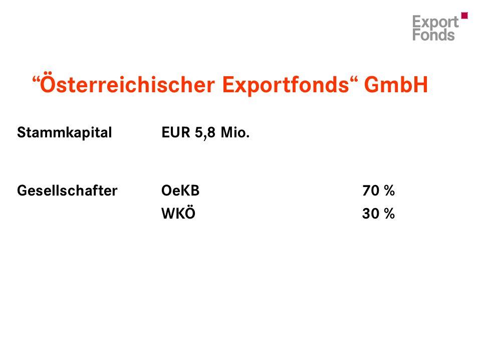 Österreichischer Exportfonds GmbH StammkapitalEUR 5,8 Mio. GesellschafterOeKB 70 % WKÖ 30 %