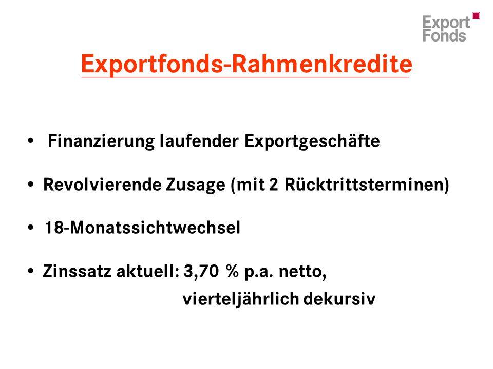 Finanzierung laufender Exportgeschäfte Revolvierende Zusage (mit 2 Rücktrittsterminen) 18-Monatssichtwechsel Zinssatz aktuell: 3,70 % p.a.