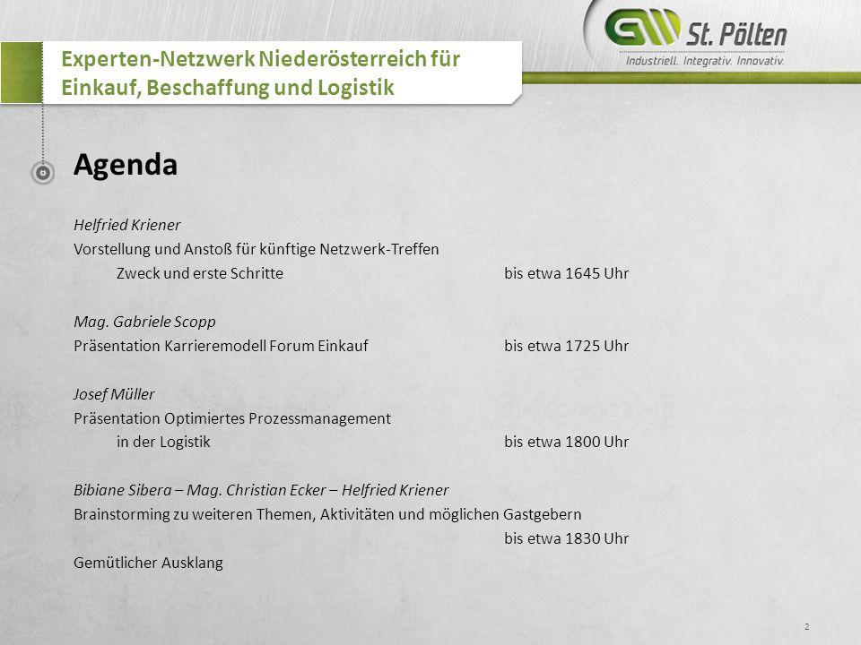 2 Experten-Netzwerk Niederösterreich für Einkauf, Beschaffung und Logistik Agenda Helfried Kriener Vorstellung und Anstoß für künftige Netzwerk-Treffe