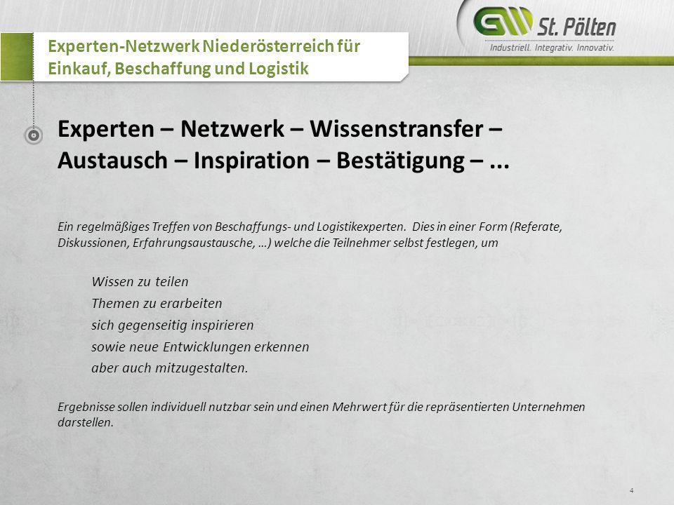 4 Experten-Netzwerk Niederösterreich für Einkauf, Beschaffung und Logistik Experten – Netzwerk – Wissenstransfer – Austausch – Inspiration – Bestätigu