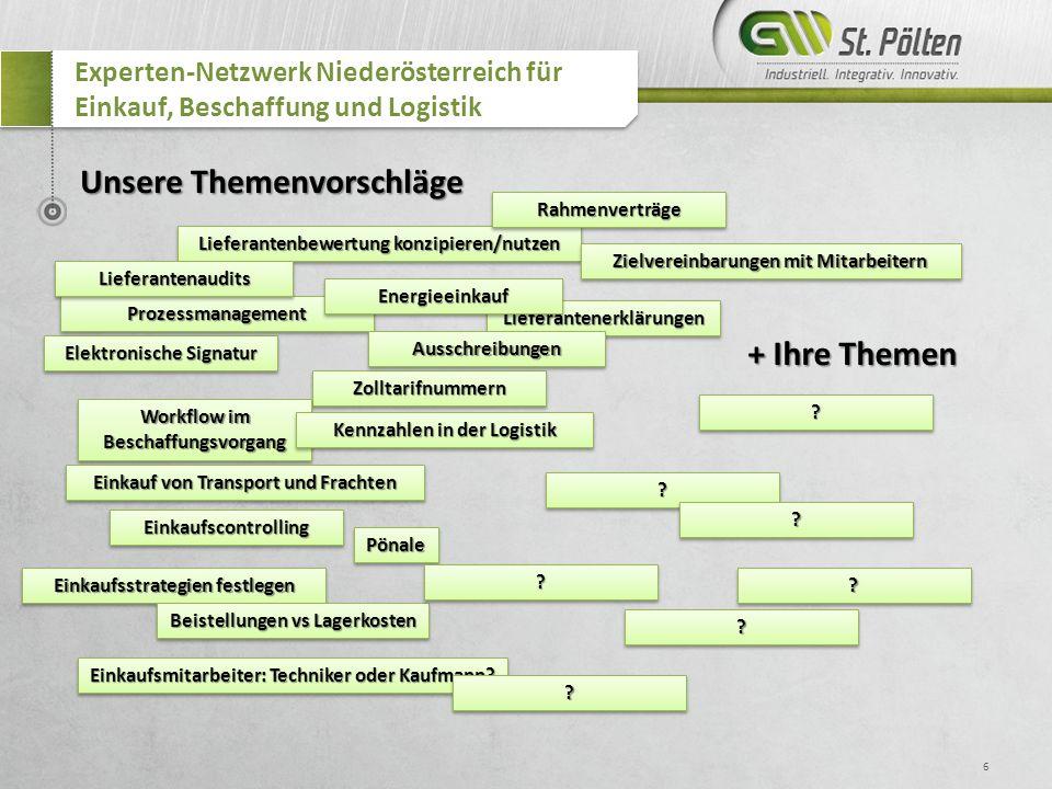 6 Experten-Netzwerk Niederösterreich für Einkauf, Beschaffung und Logistik Lieferantenbewertung konzipieren/nutzen RahmenverträgeRahmenverträge Zollta