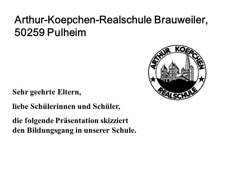 Arthur-Koepchen-Realschule Brauweiler, 50259 Pulheim Sehr geehrte Eltern, liebe Schülerinnen und Schüler, die folgende Präsentation skizziert den Bild