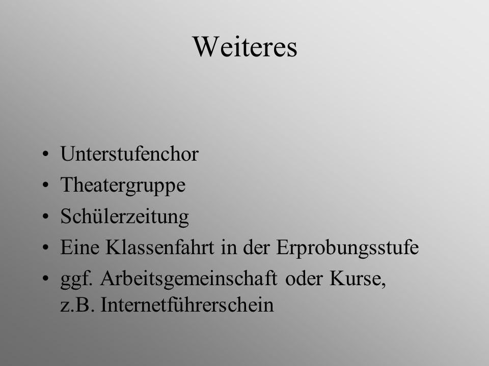 Weiteres Unterstufenchor Theatergruppe Schülerzeitung Eine Klassenfahrt in der Erprobungsstufe ggf. Arbeitsgemeinschaft oder Kurse, z.B. Internetführe