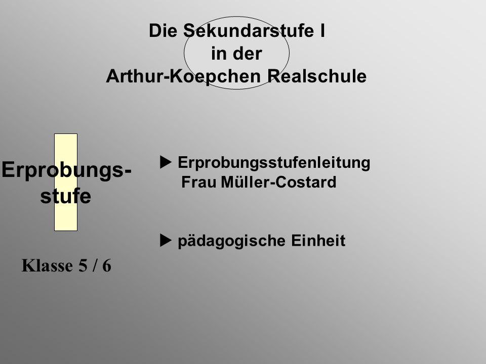 Die Sekundarstufe I in der Arthur-Koepchen Realschule Erprobungs- stufe pädagogische Einheit Erprobungsstufenleitung Frau Müller-Costard Klasse 5 / 6