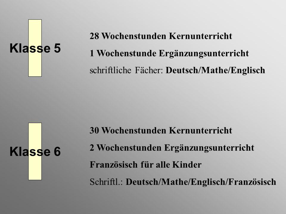 Klasse 5 Klasse 6 28 Wochenstunden Kernunterricht 1 Wochenstunde Ergänzungsunterricht schriftliche Fächer: Deutsch/Mathe/Englisch 30 Wochenstunden Ker