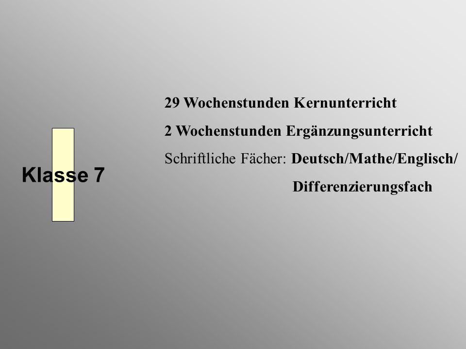 Klasse 7 29 Wochenstunden Kernunterricht 2 Wochenstunden Ergänzungsunterricht Schriftliche Fächer: Deutsch/Mathe/Englisch/ Differenzierungsfach