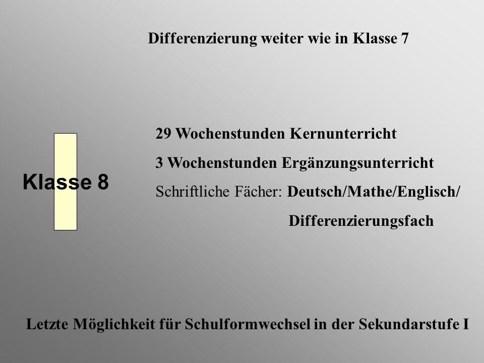 Klasse 8 29 Wochenstunden Kernunterricht 3 Wochenstunden Ergänzungsunterricht Schriftliche Fächer: Deutsch/Mathe/Englisch/ Differenzierungsfach Differ