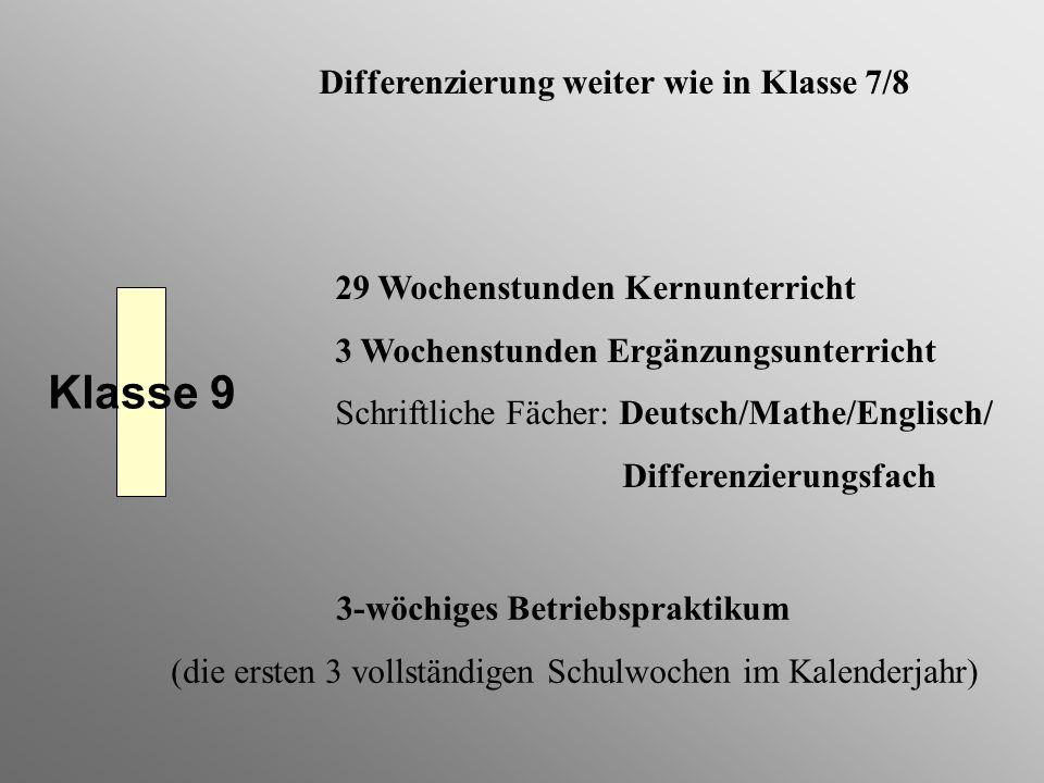 Klasse 9 Differenzierung weiter wie in Klasse 7/8 29 Wochenstunden Kernunterricht 3 Wochenstunden Ergänzungsunterricht Schriftliche Fächer: Deutsch/Ma
