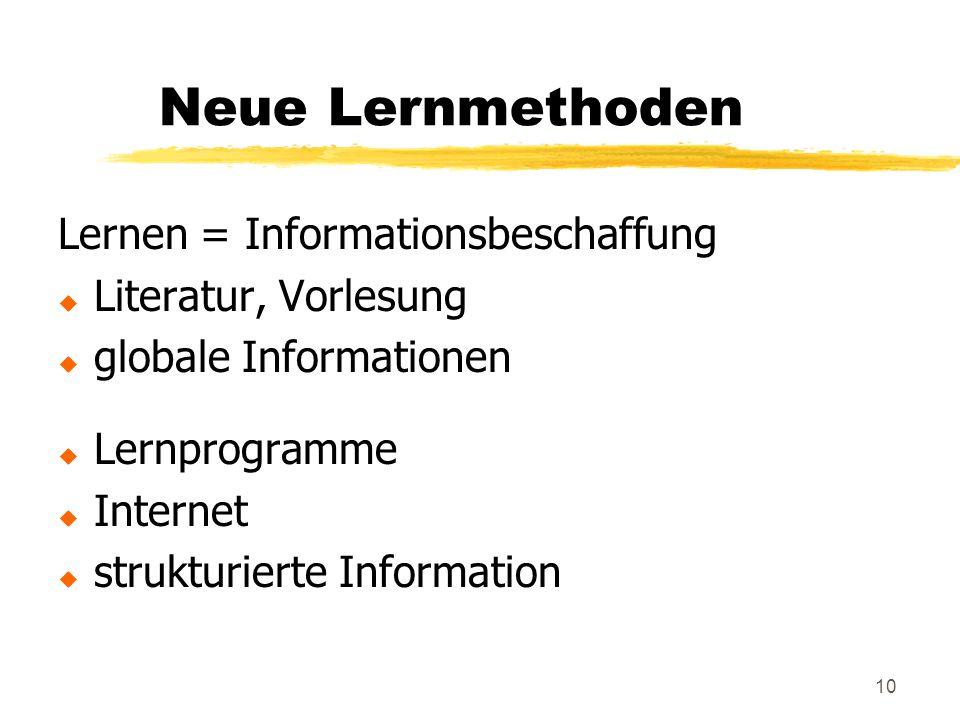 10 Neue Lernmethoden Lernen = Informationsbeschaffung u Literatur, Vorlesung u globale Informationen u Lernprogramme u Internet u strukturierte Information