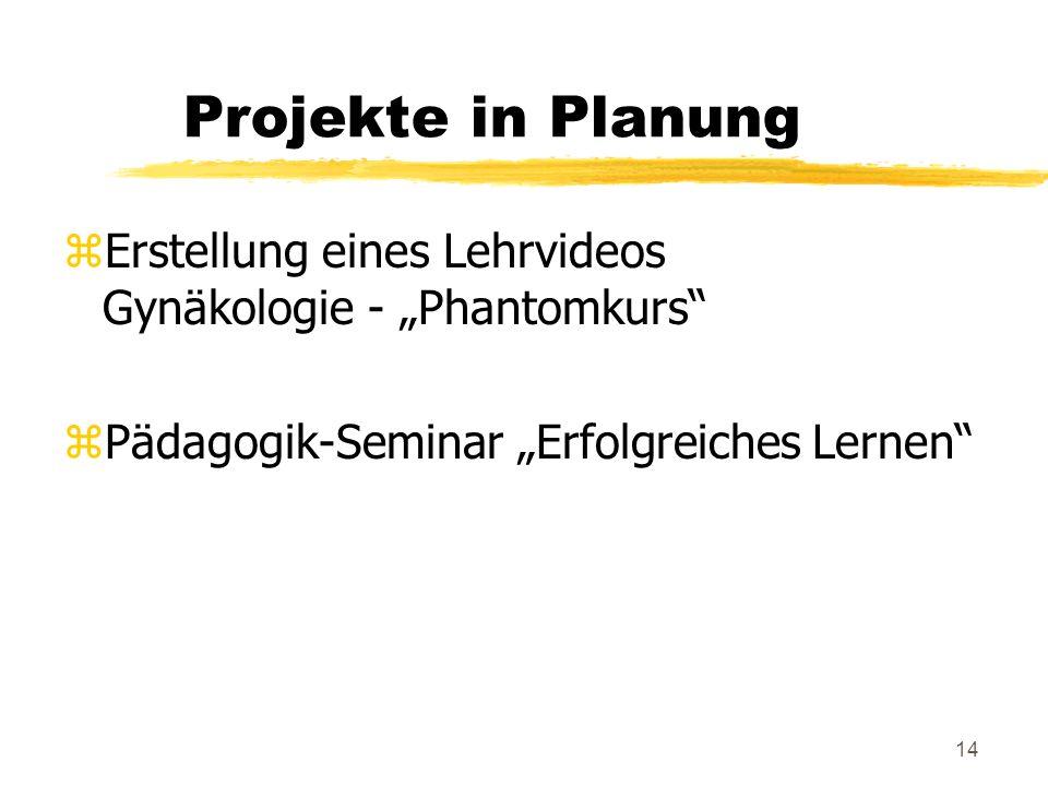 14 Projekte in Planung zErstellung eines Lehrvideos Gynäkologie - Phantomkurs zPädagogik-Seminar Erfolgreiches Lernen