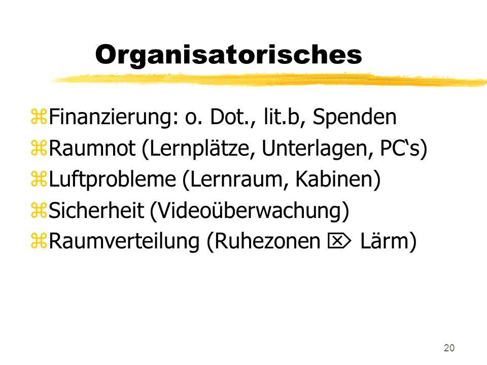 20 Organisatorisches zFinanzierung: o.