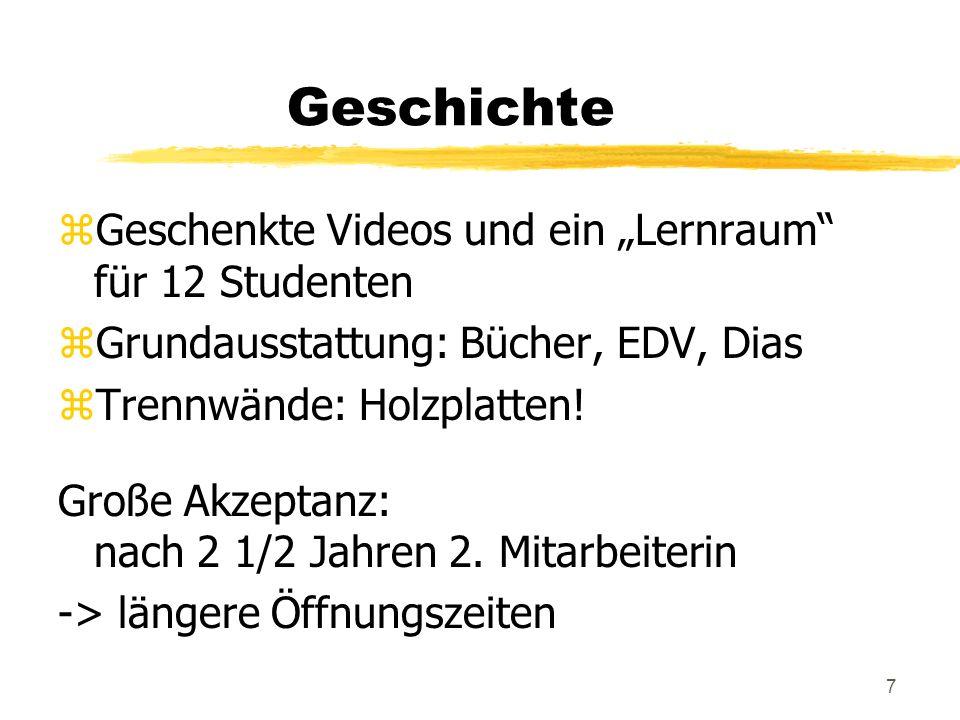 7 Geschichte zGeschenkte Videos und ein Lernraum für 12 Studenten zGrundausstattung: Bücher, EDV, Dias zTrennwände: Holzplatten.