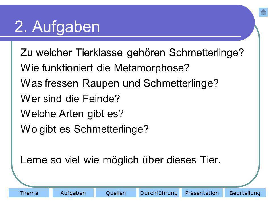 ThemaAufgabenQuellenDurchführungBeurteilungPräsentation 2. Aufgaben Zu welcher Tierklasse gehören Schmetterlinge? Wie funktioniert die Metamorphose? W