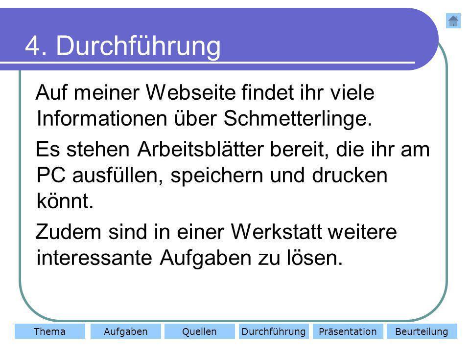 ThemaAufgabenQuellenDurchführungBeurteilungPräsentation 4. Durchführung Auf meiner Webseite findet ihr viele Informationen über Schmetterlinge. Es ste