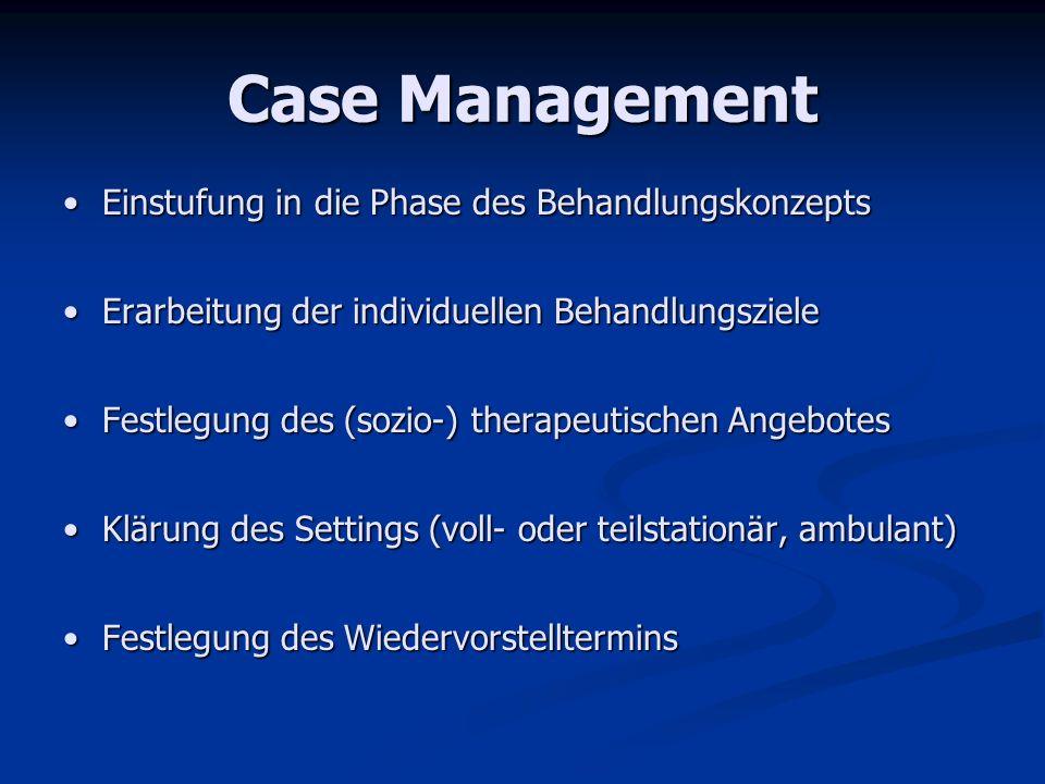 Case Management Einstufung in die Phase des BehandlungskonzeptsEinstufung in die Phase des Behandlungskonzepts Erarbeitung der individuellen Behandlun