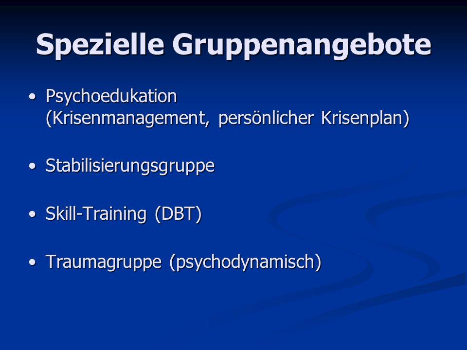 Spezielle Gruppenangebote Psychoedukation (Krisenmanagement, persönlicher Krisenplan)Psychoedukation (Krisenmanagement, persönlicher Krisenplan) Stabi