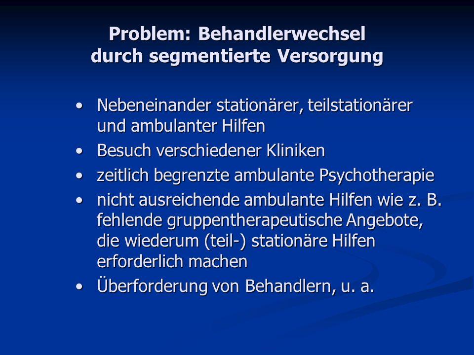Problem: Behandlerwechsel durch segmentierte Versorgung Nebeneinander stationärer, teilstationärer und ambulanter HilfenNebeneinander stationärer, tei