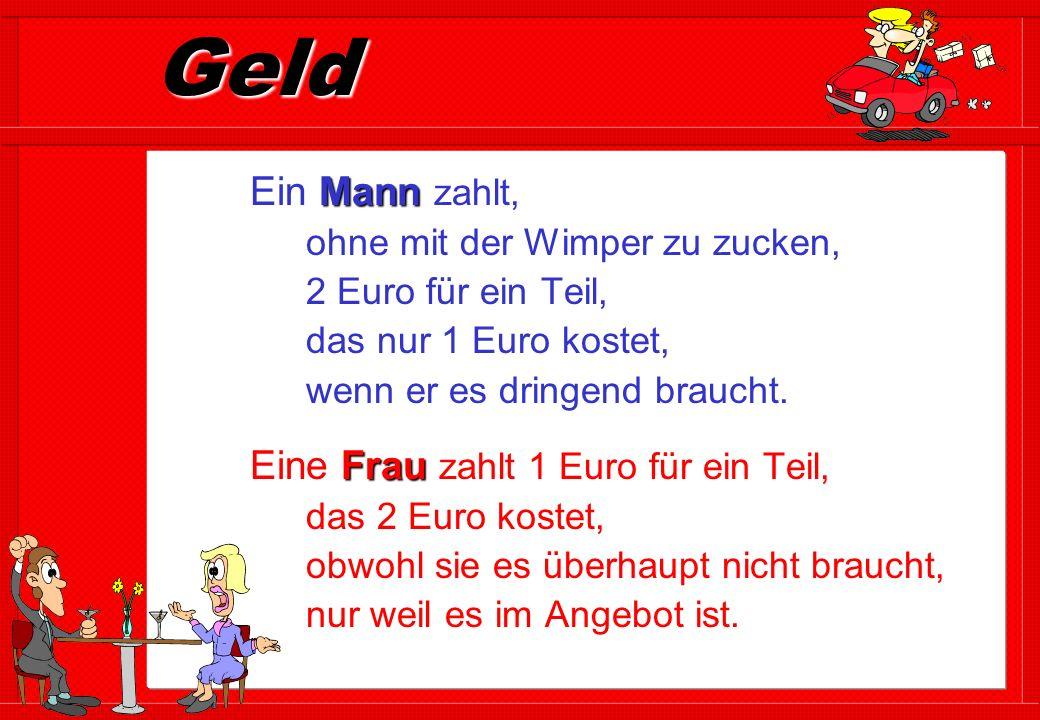 Geld Mann Ein Mann zahlt, ohne mit der Wimper zu zucken, 2 Euro für ein Teil, das nur 1 Euro kostet, wenn er es dringend braucht.