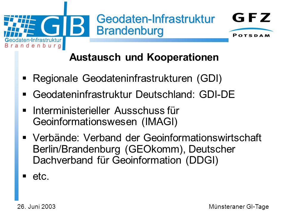 Geodaten-Infrastruktur Brandenburg 26. Juni 2003Münsteraner GI-Tage Austausch und Kooperationen Regionale Geodateninfrastrukturen (GDI) Geodateninfras