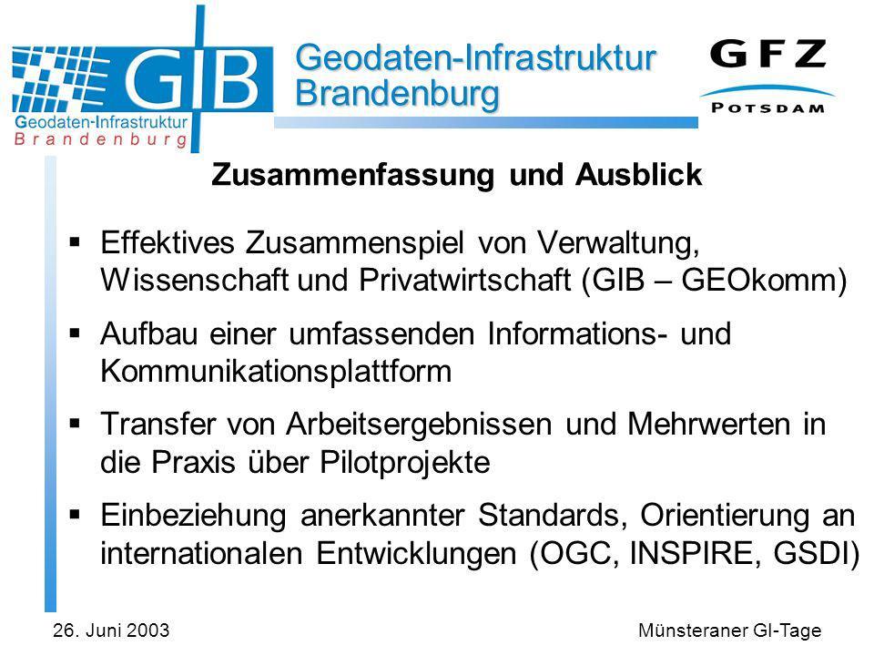 Geodaten-Infrastruktur Brandenburg 26. Juni 2003Münsteraner GI-Tage Zusammenfassung und Ausblick Effektives Zusammenspiel von Verwaltung, Wissenschaft