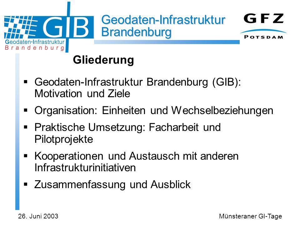 Geodaten-Infrastruktur Brandenburg 26. Juni 2003Münsteraner GI-Tage Gliederung Geodaten-Infrastruktur Brandenburg (GIB): Motivation und Ziele Organisa