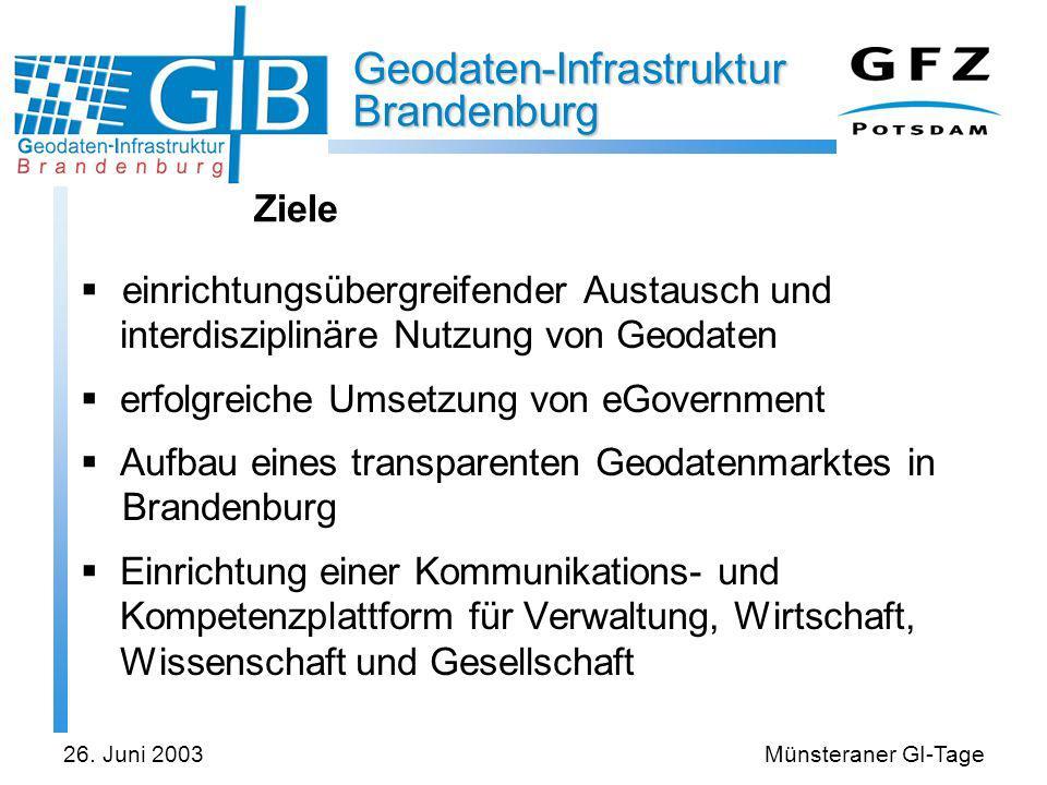 Geodaten-Infrastruktur Brandenburg 26. Juni 2003Münsteraner GI-Tage Ziele einrichtungsübergreifender Austausch und interdisziplinäre Nutzung von Geoda