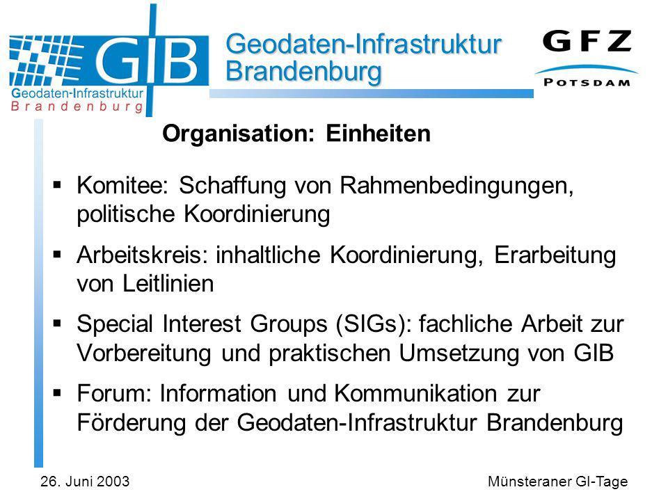 Geodaten-Infrastruktur Brandenburg 26. Juni 2003Münsteraner GI-Tage Organisation: Einheiten Komitee: Schaffung von Rahmenbedingungen, politische Koord