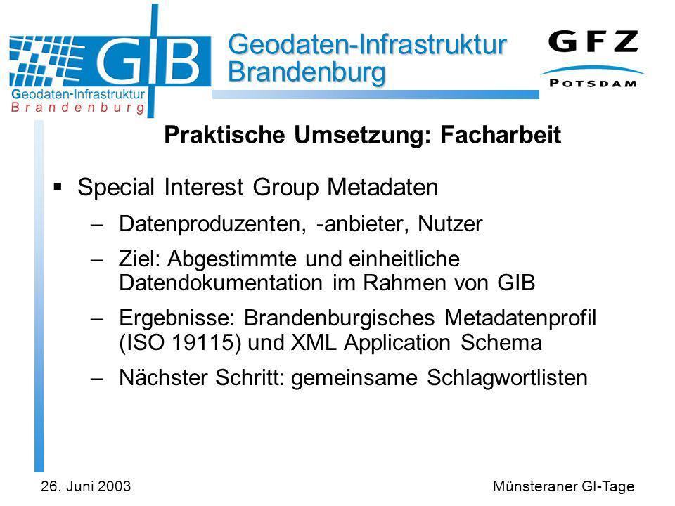 Geodaten-Infrastruktur Brandenburg 26. Juni 2003Münsteraner GI-Tage Praktische Umsetzung: Facharbeit Special Interest Group Metadaten –Datenproduzente