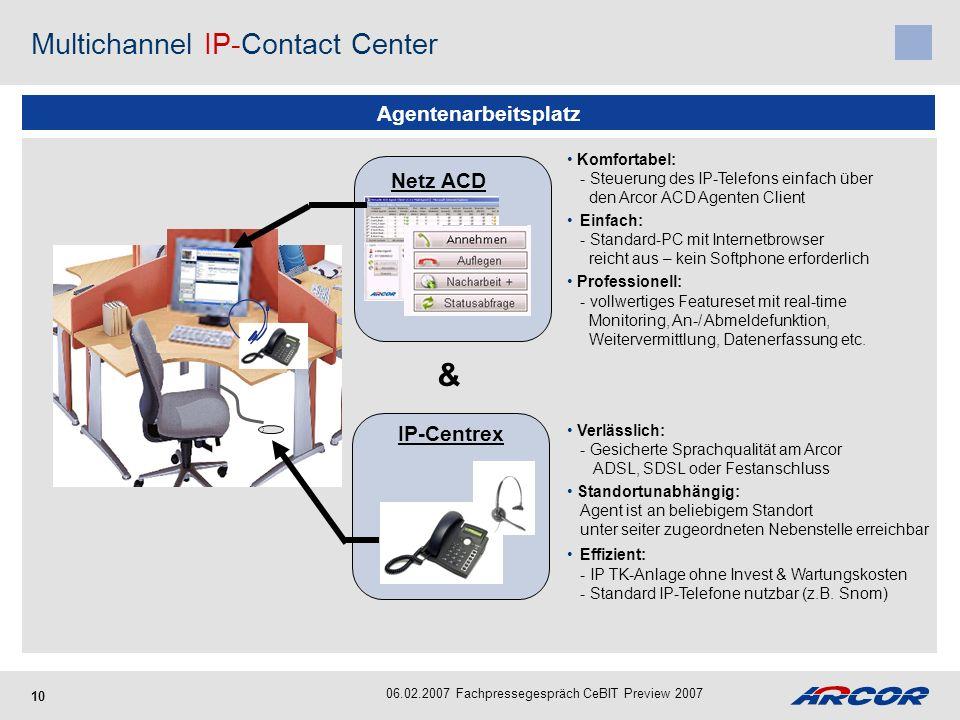 10 Agentenarbeitsplatz Multichannel IP-Contact Center 06.02.2007 Fachpressegespräch CeBIT Preview 2007 Verlässlich: - Gesicherte Sprachqualität am Arc