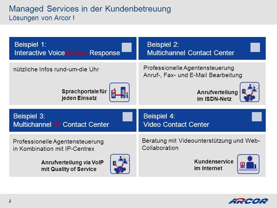 2 Managed Services in der Kundenbetreuung Lösungen von Arcor ! Sprachportale für jeden Einsatz nützliche Infos rund-um-die Uhr Beispiel 3: Multichanne