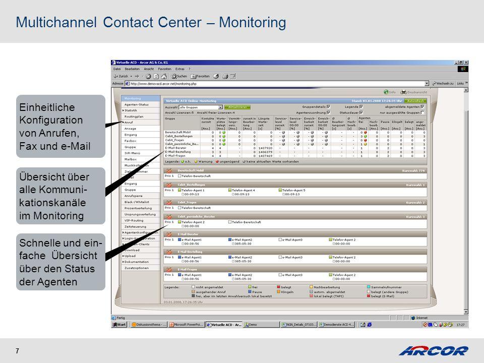 7 Einheitliche Konfiguration von Anrufen, Fax und e-Mail Übersicht über alle Kommuni- kationskanäle im Monitoring Schnelle und ein- fache Übersicht üb