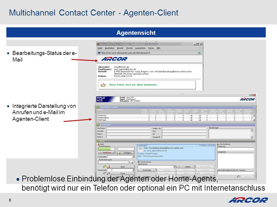 8 Agentensicht Bearbeitungs-Status der e- Mail Integrierte Darstellung von Anrufen und e-Mail im Agenten-Client Multichannel Contact Center - Agenten-