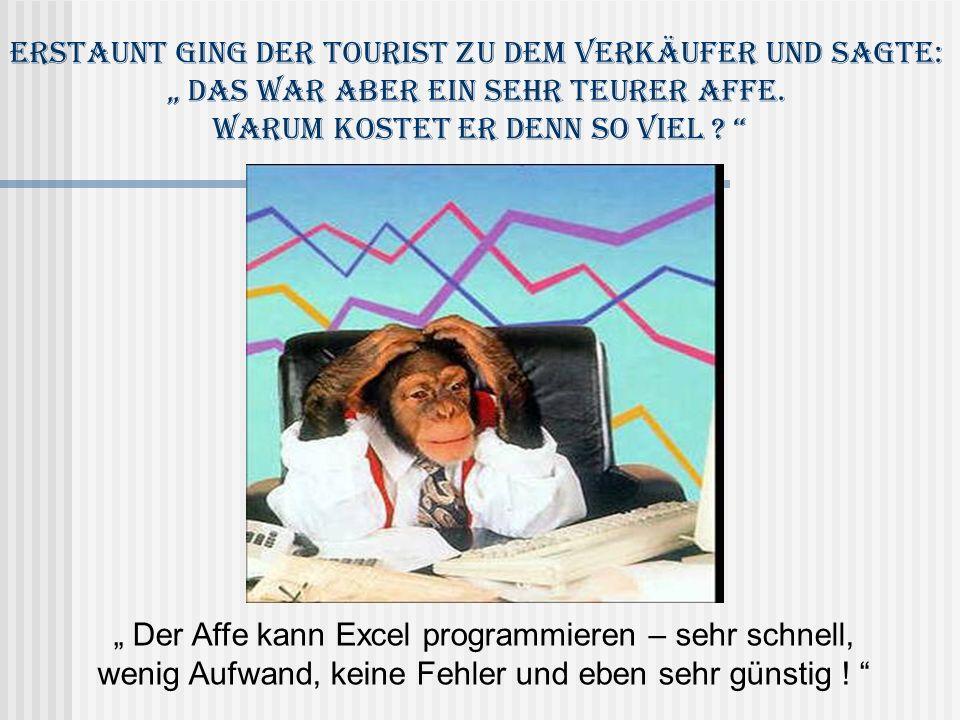 Der Affe kann Excel programmieren – sehr schnell, wenig Aufwand, keine Fehler und eben sehr günstig ! Erstaunt ging der Tourist zu dem Verkäufer und s