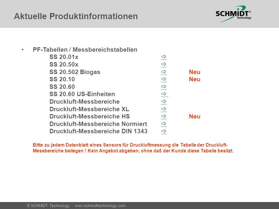 © SCHMIDT Technology · www.schmidttechnology.com Aktuelle Produktinformationen PF-Tabellen / Messbereichstabellen SS 20.01x SS 20.50x SS 20.502 Biogas