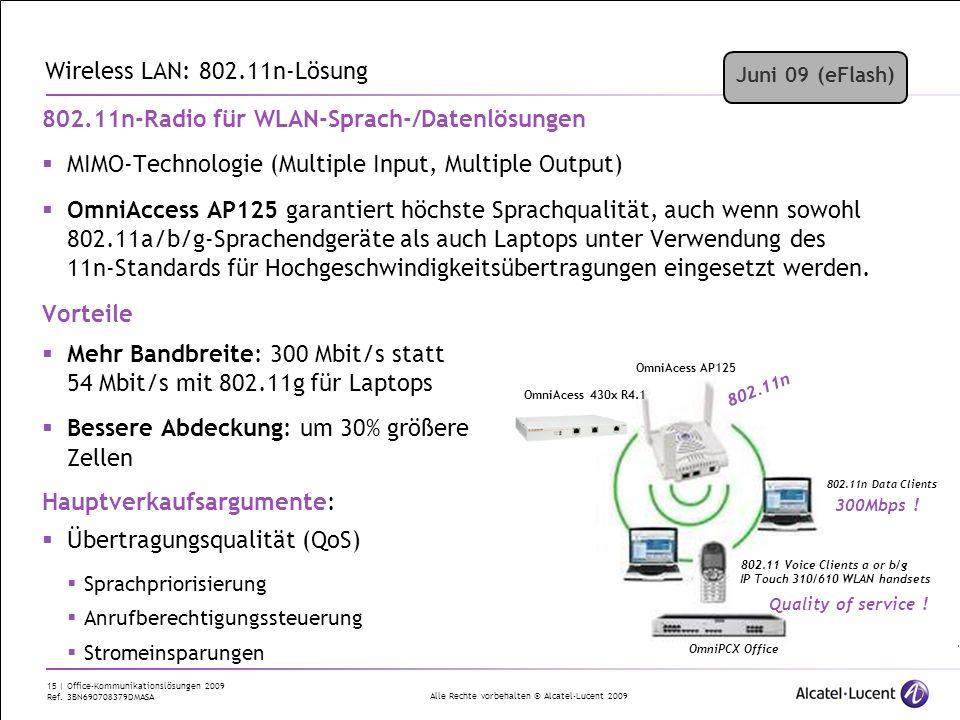 Alle Rechte vorbehalten © Alcatel-Lucent 2009 15 | Office-Kommunikationslösungen 2009 Ref. 3BN690708379DMASA 802.11n-Radio für WLAN-Sprach-/Datenlösun