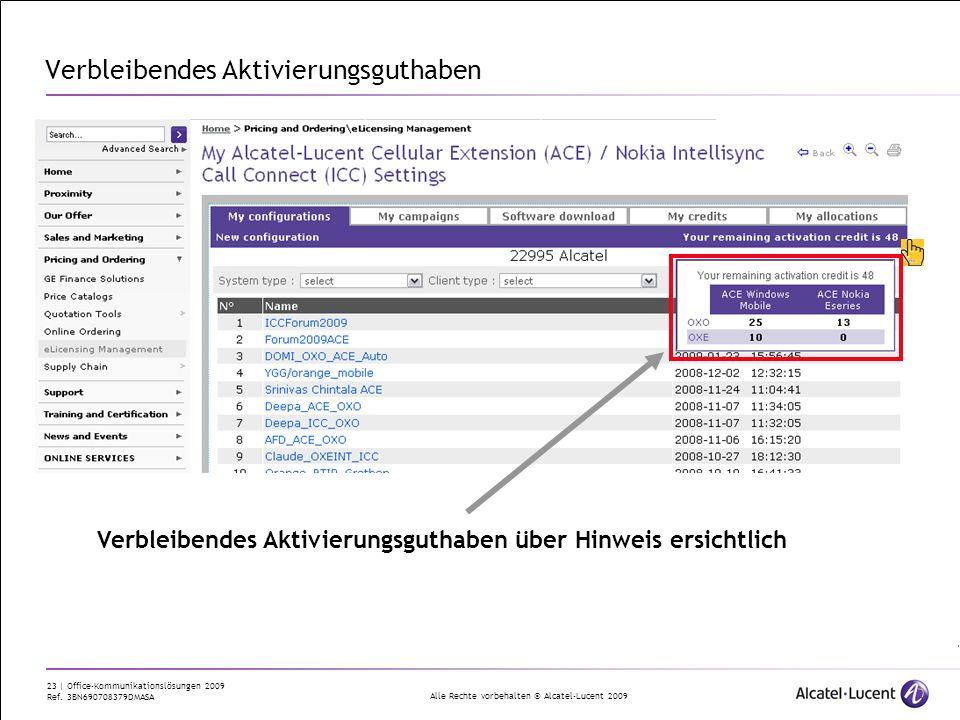 Alle Rechte vorbehalten © Alcatel-Lucent 2009 23 | Office-Kommunikationslösungen 2009 Ref. 3BN690708379DMASA Verbleibendes Aktivierungsguthaben Verble