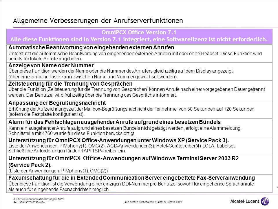 Alle Rechte vorbehalten © Alcatel-Lucent 2009 8 | Office-Kommunikationslösungen 2009 Ref. 3BN690708379DMASA Allgemeine Verbesserungen der Anrufserverf