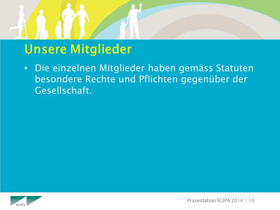 Präsentation SGIPA 2014 / 10 Unsere Mitglieder Die einzelnen Mitglieder haben gemäss Statuten besondere Rechte und Pflichten gegenüber der Gesellschaft.
