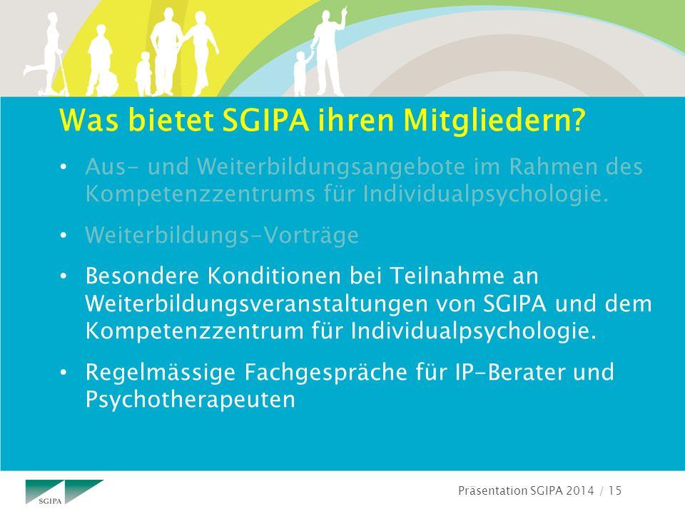 Präsentation SGIPA 2014 / 15 Was bietet SGIPA ihren Mitgliedern.