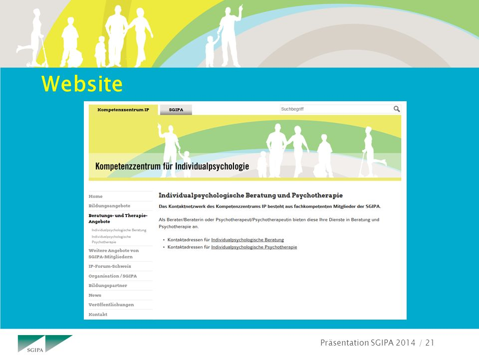 Präsentation SGIPA 2014 / 21 Website
