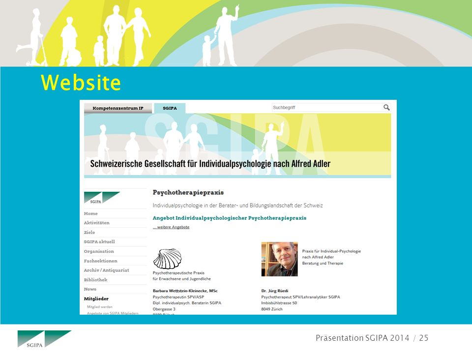 Präsentation SGIPA 2014 / 25 Website