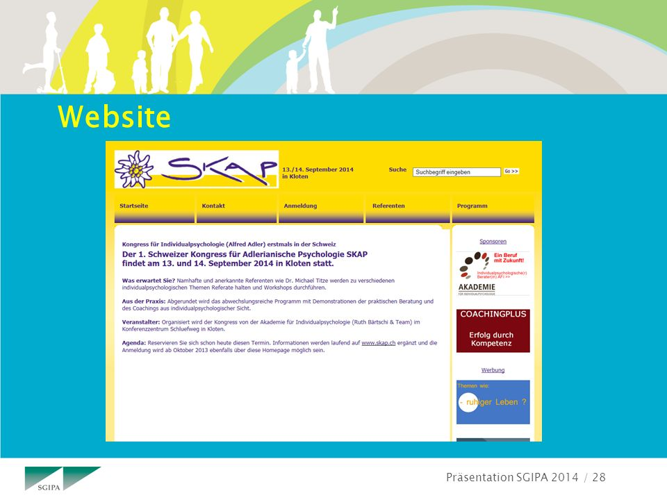 Präsentation SGIPA 2014 / 28 Website