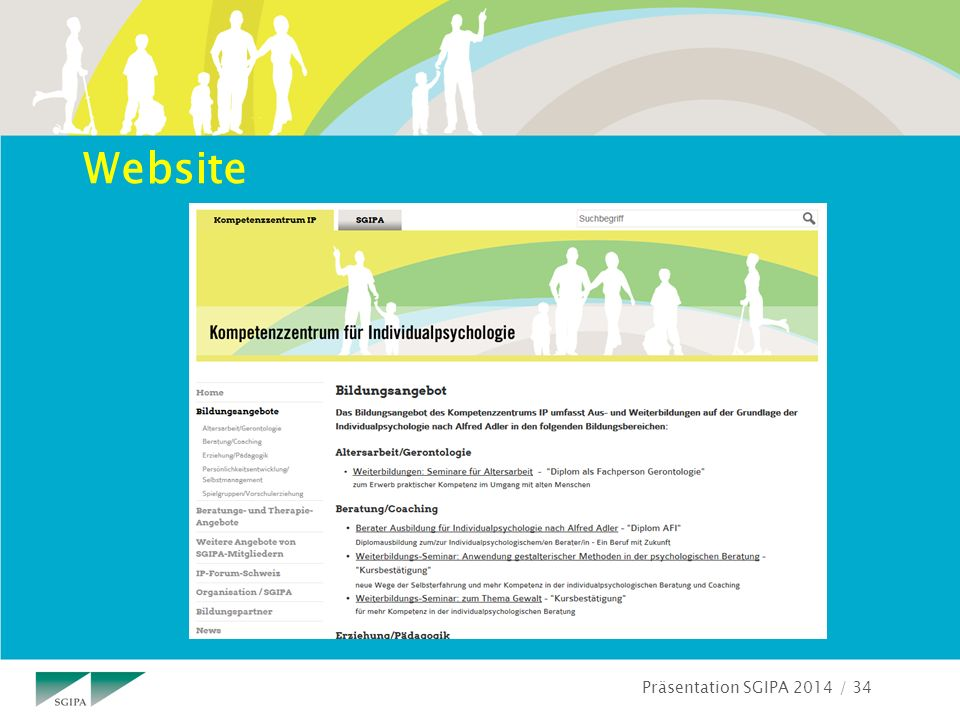 Präsentation SGIPA 2014 / 34 Website