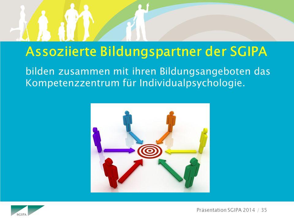 Präsentation SGIPA 2014 / 35 Assoziierte Bildungspartner der SGIPA bilden zusammen mit ihren Bildungsangeboten das Kompetenzzentrum für Individualpsychologie.